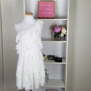 Ivory One Shoulder Ruffle Tiered Dress SZ S